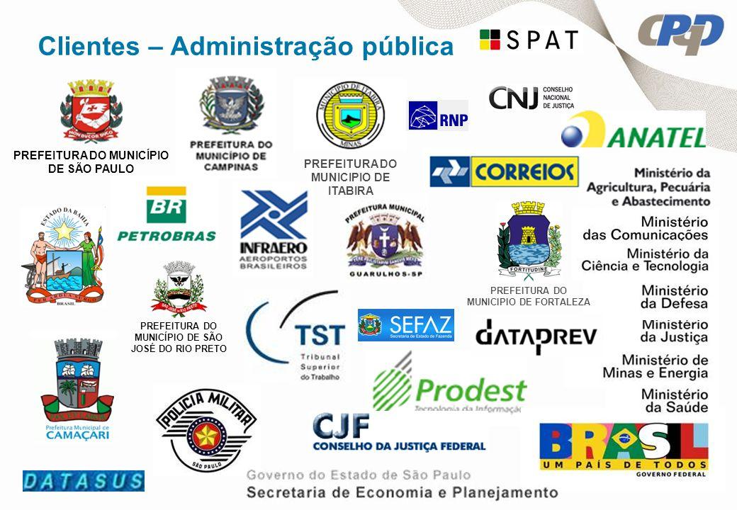 Clientes – Administração pública PREFEITURA DO MUNICÍPIO DE SÃO JOSÉ DO RIO PRETO PREFEITURA DO MUNICÍPIO DE SÃO PAULO PREFEITURA DO MUNICIPIO DE ITABIRA PREFEITURA DO MUNICIPIO DE FORTALEZA