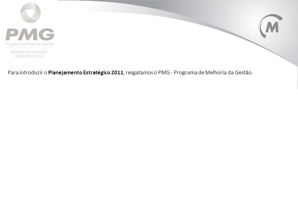 Para introduzir o Planejamento Estratégico 2011, resgatamos o PMG - Programa de Melhoria da Gestão.
