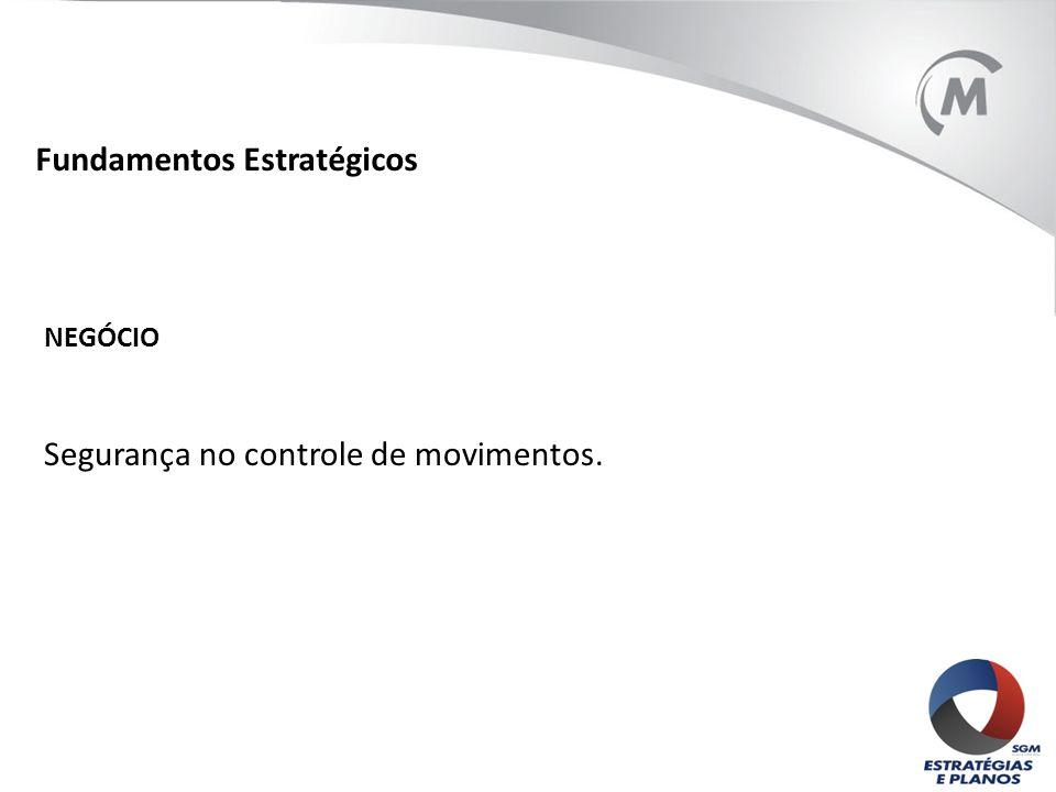 Fundamentos Estratégicos NEGÓCIO Segurança no controle de movimentos.