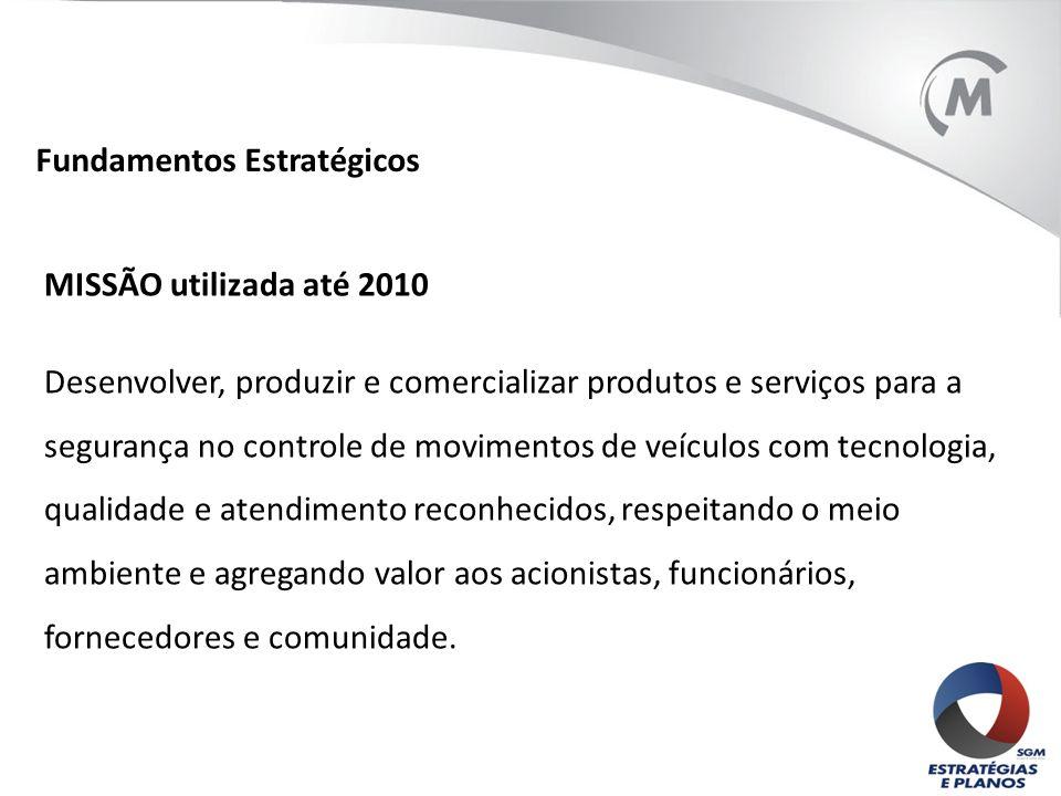 MISSÃO utilizada até 2010 Desenvolver, produzir e comercializar produtos e serviços para a segurança no controle de movimentos de veículos com tecnolo