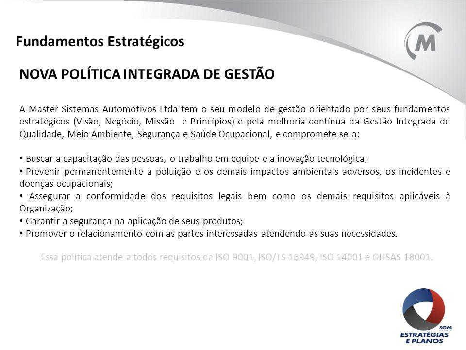 Fundamentos Estratégicos NOVA POLÍTICA INTEGRADA DE GESTÃO A Master Sistemas Automotivos Ltda tem o seu modelo de gestão orientado por seus fundamento