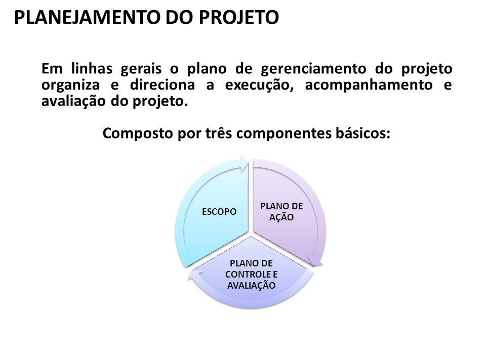 PLANEJAMENTO DO PROJETO Em linhas gerais o plano de gerenciamento do projeto organiza e direciona a execução, acompanhamento e avaliação do projeto. C