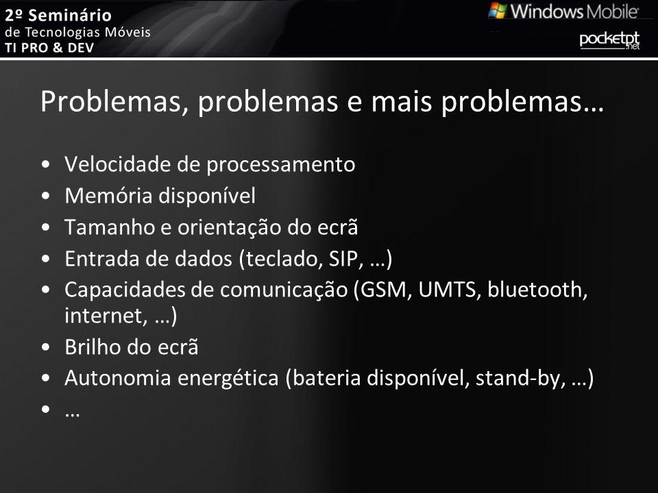 Problemas, problemas e mais problemas… Velocidade de processamento Memória disponível Tamanho e orientação do ecrã Entrada de dados (teclado, SIP, …)
