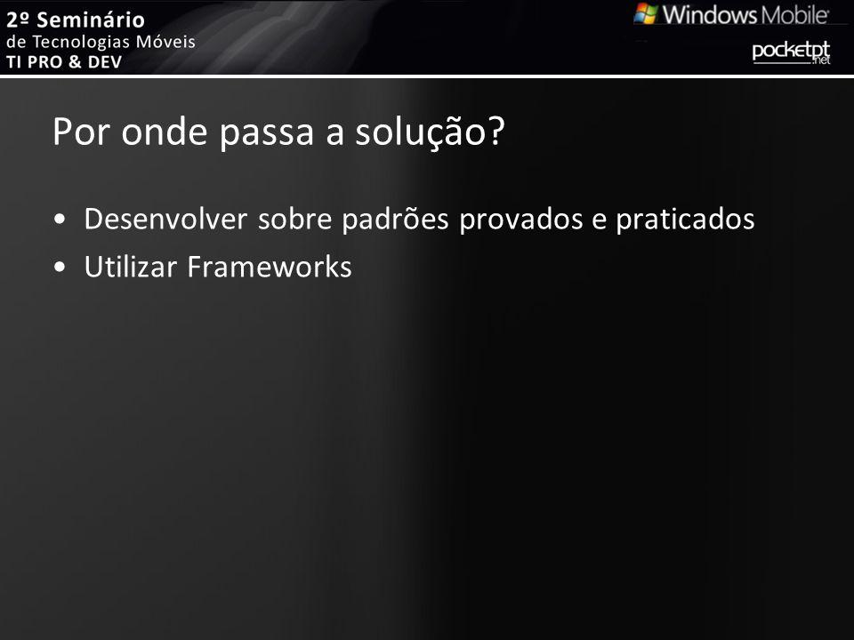 Frameworks Disponíveis Smart Client Software Factory –http://tinyurl.com/cvus94http://tinyurl.com/cvus94 Windows Mobile LOB Solution Accelerator 2008 –http://tinyurl.com/b5utkjhttp://tinyurl.com/b5utkj Smart Device Framework –http://tinyurl.com/cmtfaqhttp://tinyurl.com/cmtfaq