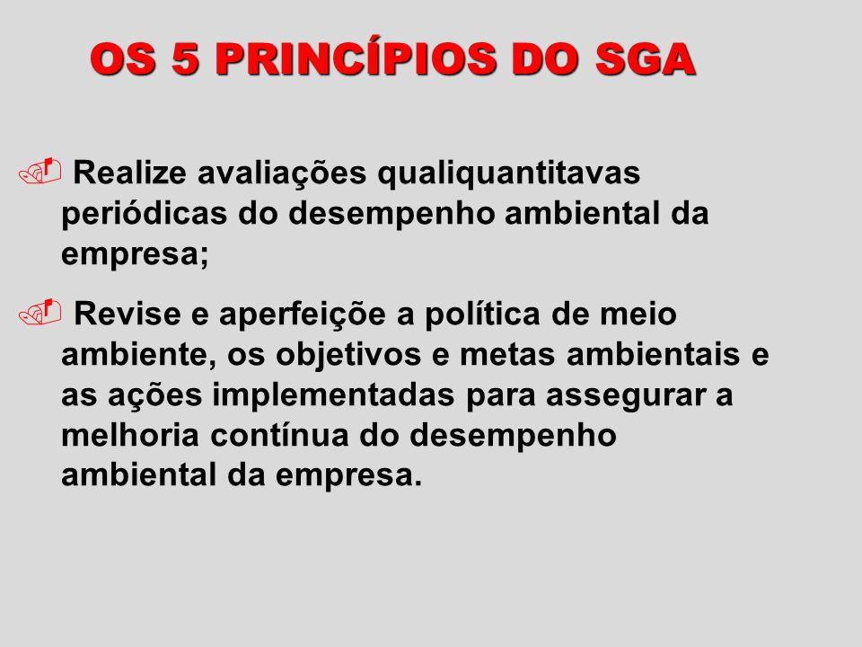 OS 5 PRINCÍPIOS DO SGA Realize avaliações qualiquantitavas periódicas do desempenho ambiental da empresa;.
