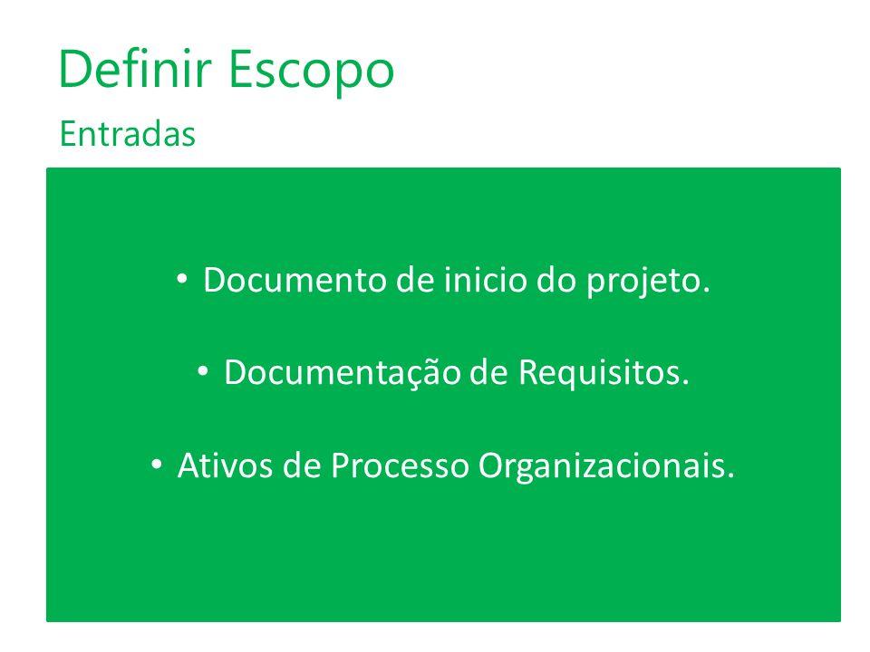 Entradas Definir Escopo Documento de inicio do projeto. Documentação de Requisitos. Ativos de Processo Organizacionais.