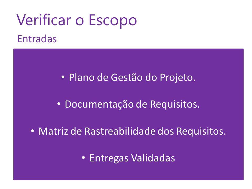 Entradas Verificar o Escopo Plano de Gestão do Projeto. Documentação de Requisitos. Matriz de Rastreabilidade dos Requisitos. Entregas Validadas