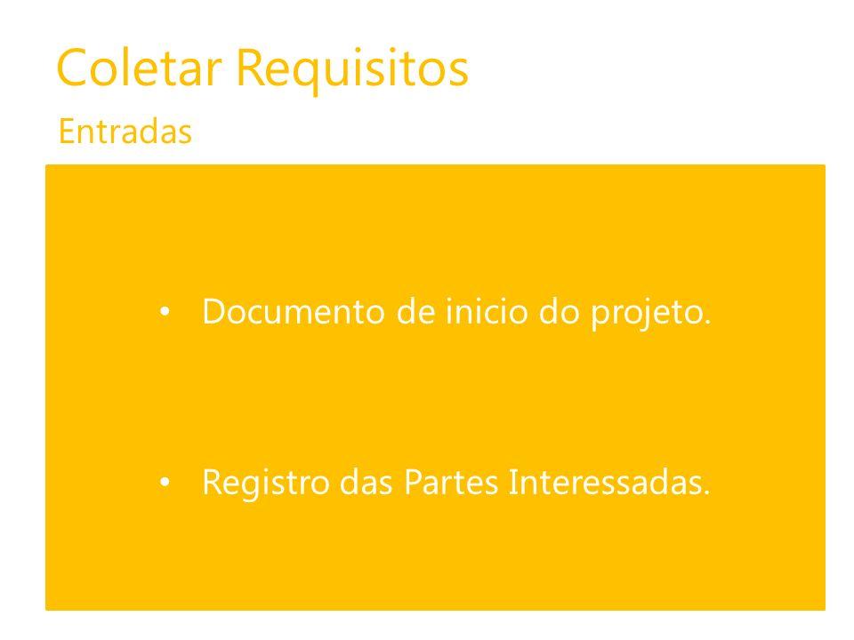 Coletar Requisitos Entradas Documento de inicio do projeto. Registro das Partes Interessadas.