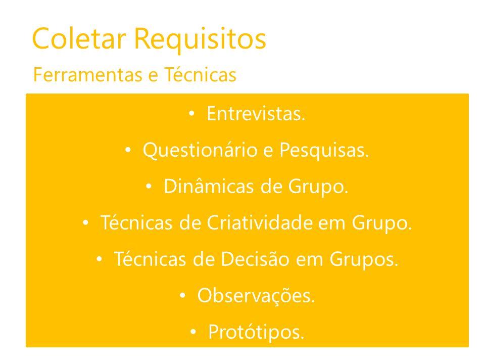 Coletar Requisitos Saídas Documentação de Requisitos.