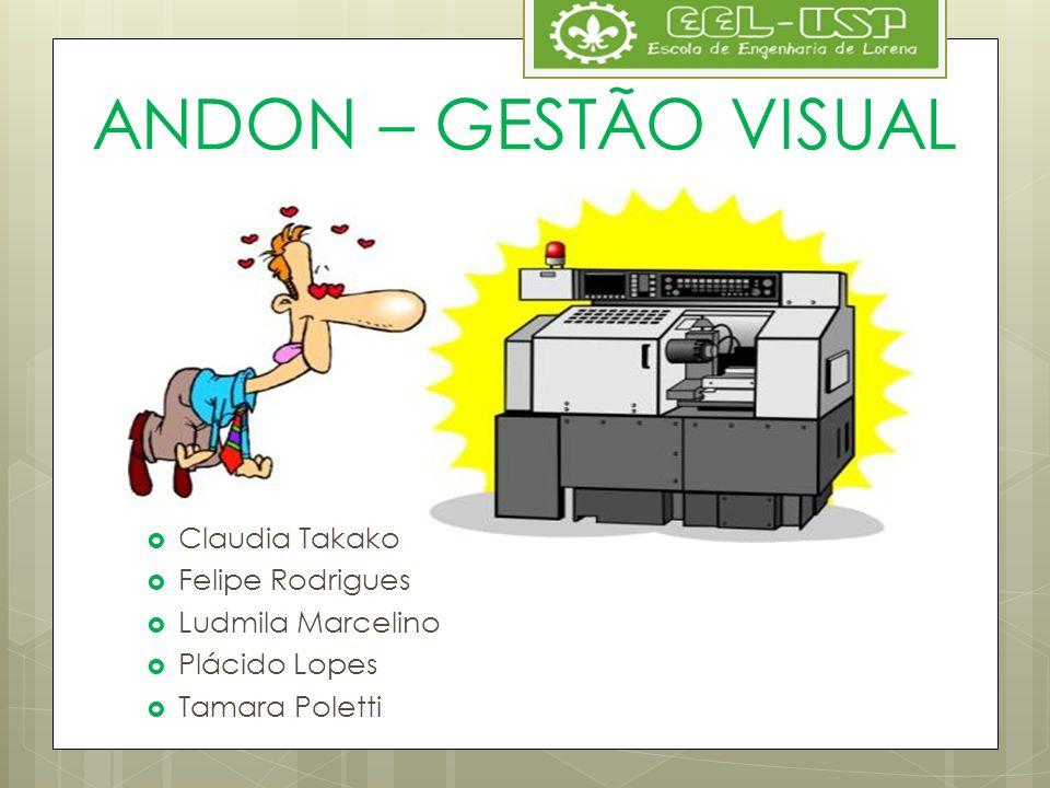 ANDON – GESTÃO VISUAL Claudia Takako Felipe Rodrigues Ludmila Marcelino Plácido Lopes Tamara Poletti