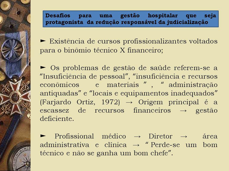 Existência de cursos profissionalizantes voltados para o binômio técnico X financeiro; Os problemas de gestão de saúde referem-se aInsuficiência de pe