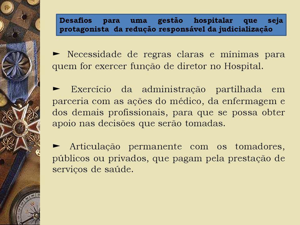 Necessidade de regras claras e mínimas para quem for exercer função de diretor no Hospital. Exercício da administração partilhada em parceria com as a