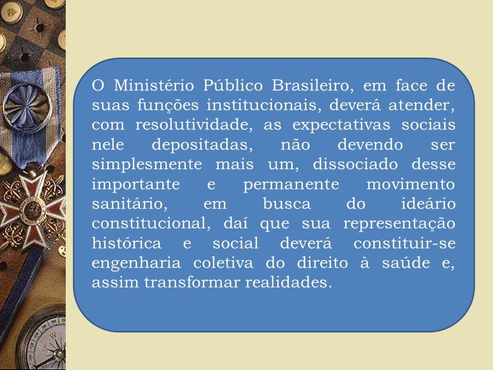 O Ministério Público Brasileiro, em face de suas funções institucionais, deverá atender, com resolutividade, as expectativas sociais nele depositadas,