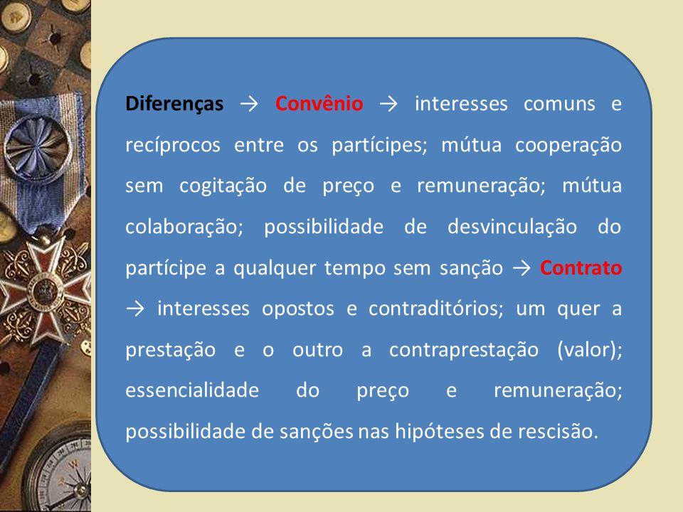Diferenças Convênio interesses comuns e recíprocos entre os partícipes; mútua cooperação sem cogitação de preço e remuneração; mútua colaboração; poss