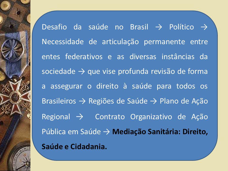 Desafio da saúde no Brasil Político Necessidade de articulação permanente entre entes federativos e as diversas instâncias da sociedade que vise profu