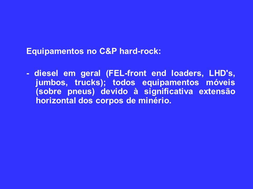 Equipamentos no C&P hard-rock: - diesel em geral (FEL-front end loaders, LHD s, jumbos, trucks); todos equipamentos móveis (sobre pneus) devido à significativa extensão horizontal dos corpos de minério.