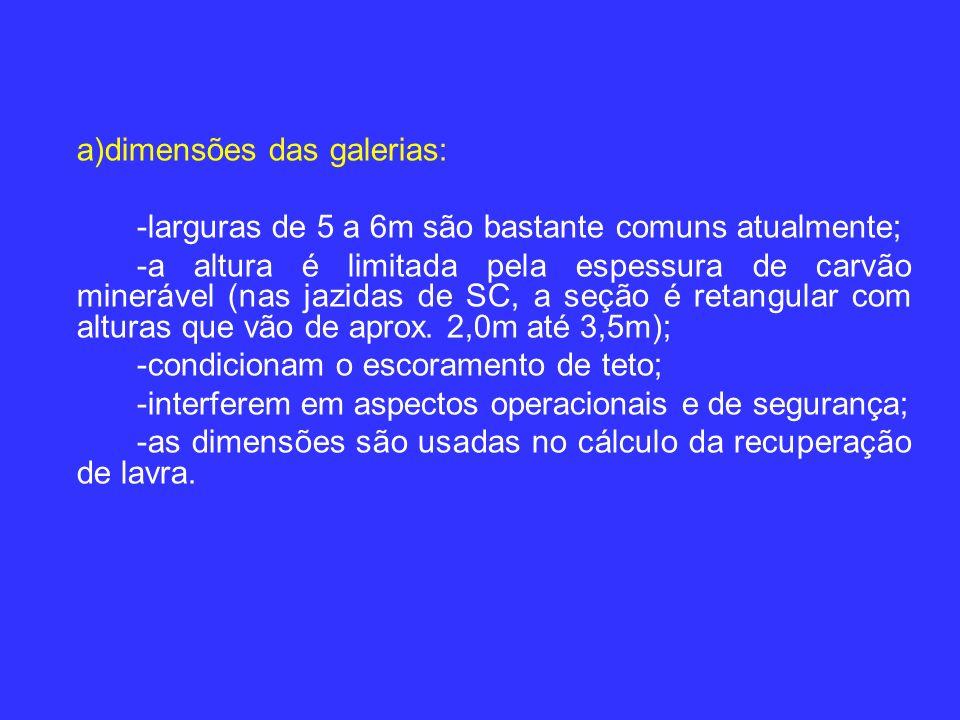 a)dimensões das galerias: -larguras de 5 a 6m são bastante comuns atualmente; -a altura é limitada pela espessura de carvão minerável (nas jazidas de SC, a seção é retangular com alturas que vão de aprox.