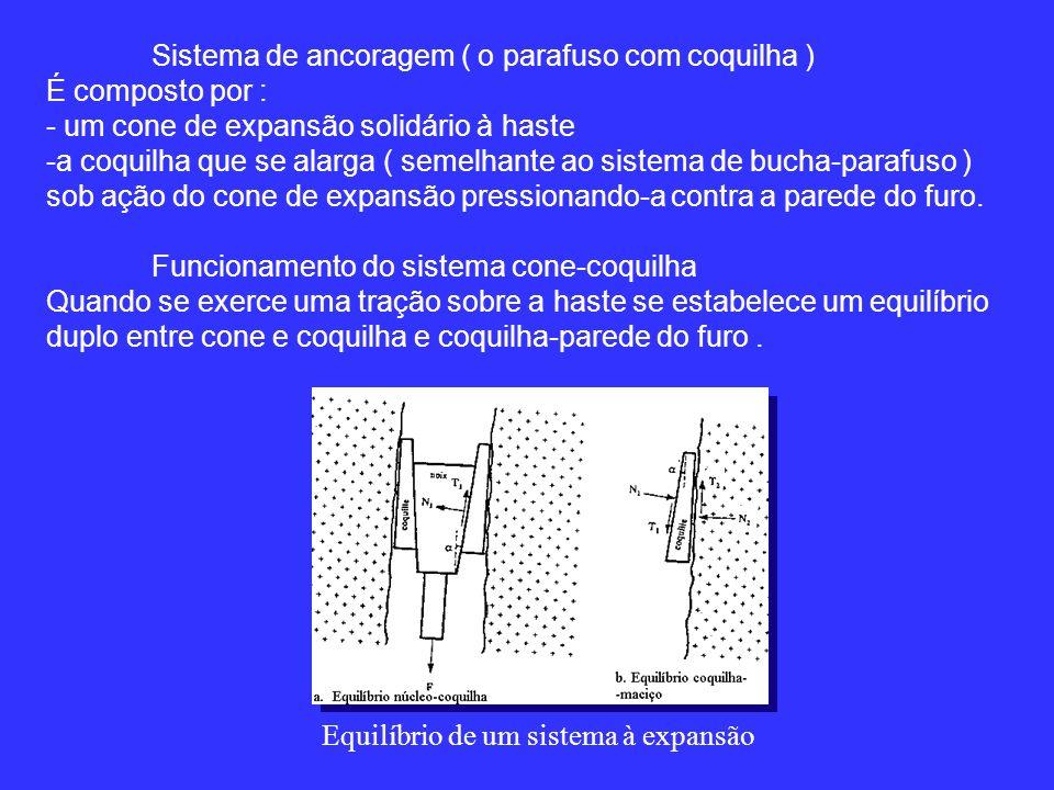 Sistema de ancoragem ( o parafuso com coquilha ) É composto por : - um cone de expansão solidário à haste -a coquilha que se alarga ( semelhante ao sistema de bucha-parafuso ) sob ação do cone de expansão pressionando-a contra a parede do furo.