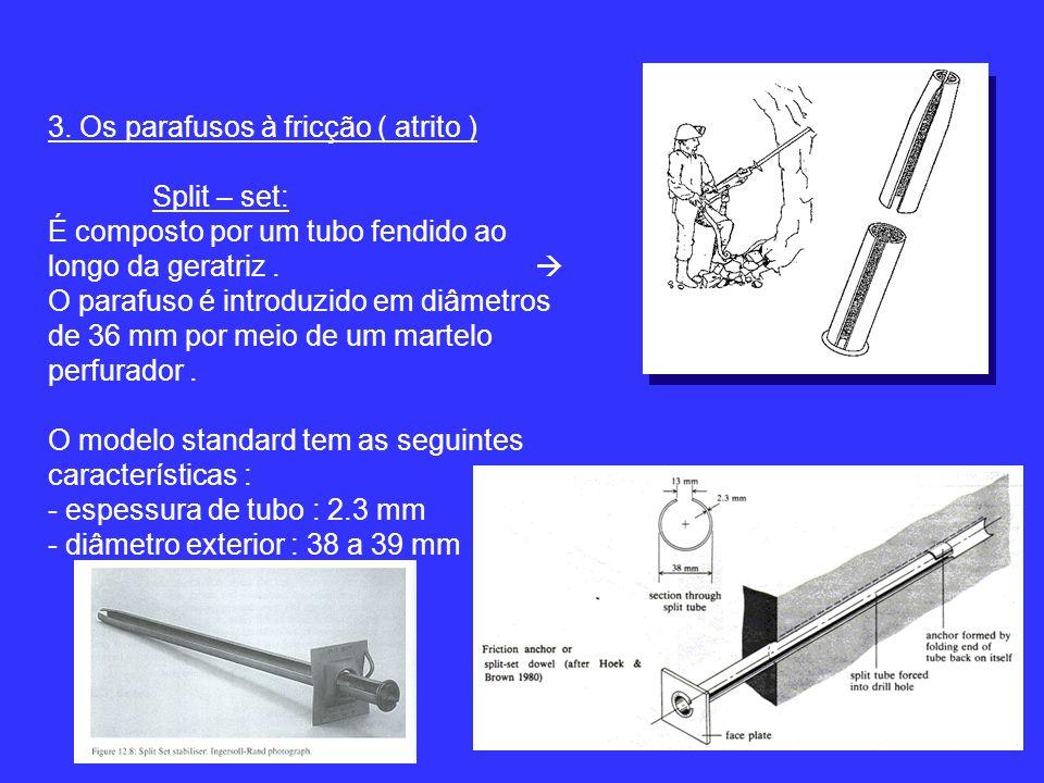 3. Os parafusos à fricção ( atrito ) Split – set: É composto por um tubo fendido ao longo da geratriz. O parafuso é introduzido em diâmetros de 36 mm