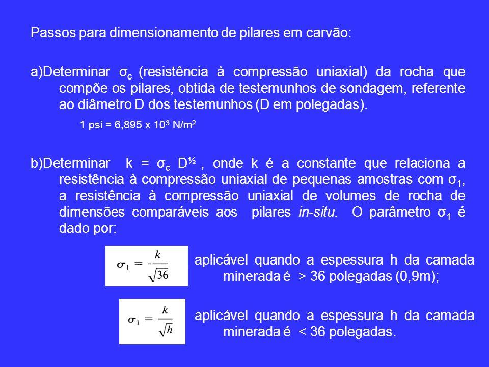Passos para dimensionamento de pilares em carvão: a)Determinar σ c (resistência à compressão uniaxial) da rocha que compõe os pilares, obtida de testemunhos de sondagem, referente ao diâmetro D dos testemunhos (D em polegadas).
