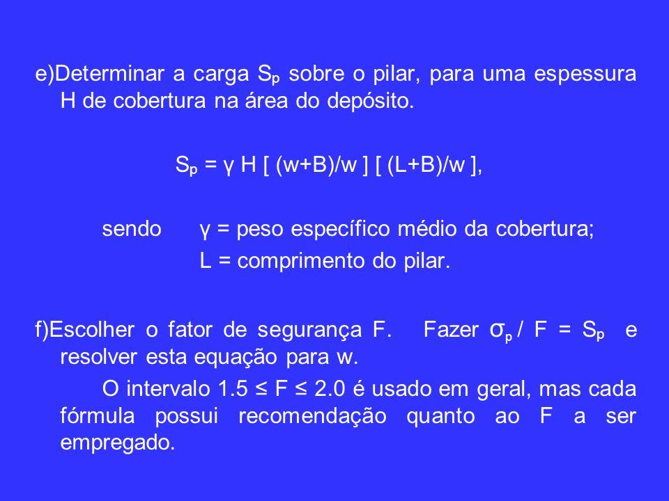 e)Determinar a carga S p sobre o pilar, para uma espessura H de cobertura na área do depósito.