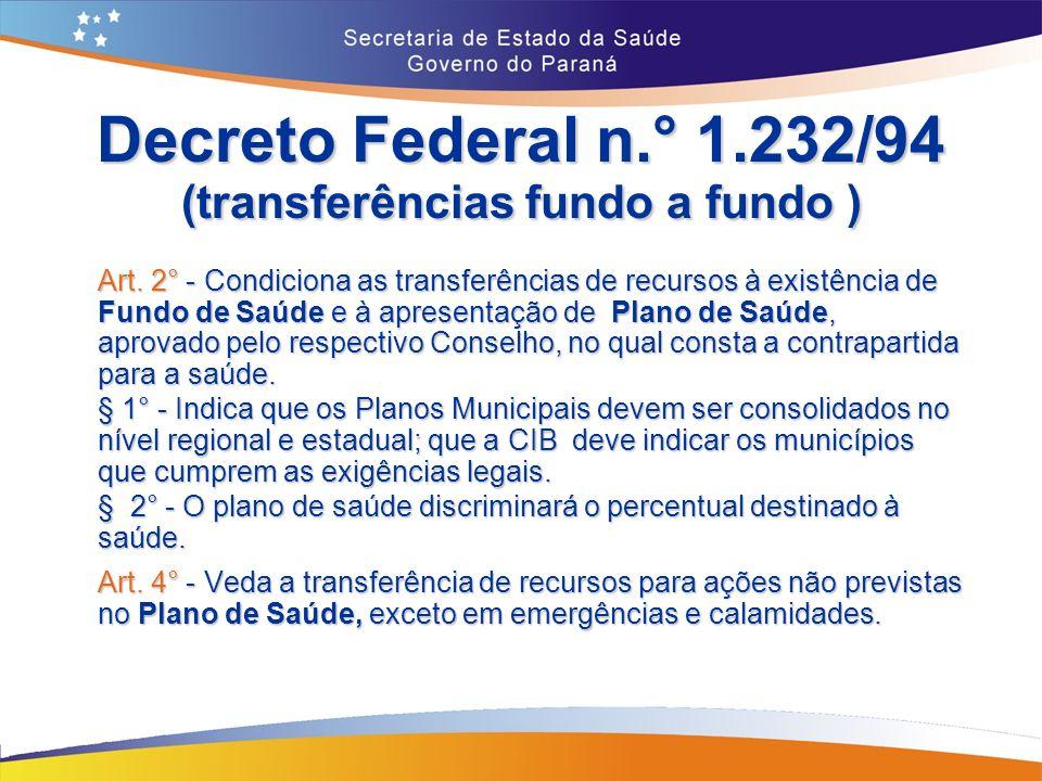 Decreto Federal n.° 1.232/94 (transferências fundo a fundo ) Art.