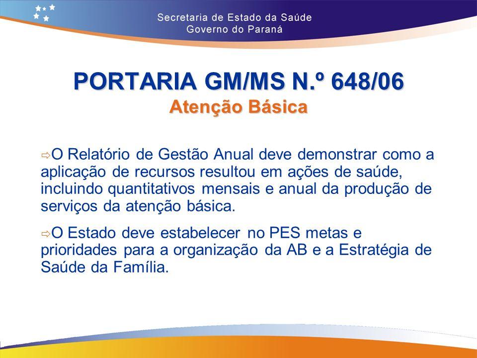 PORTARIA GM/MS N.º 648/06 Atenção Básica O Relatório de Gestão Anual deve demonstrar como a aplicação de recursos resultou em ações de saúde, incluindo quantitativos mensais e anual da produção de serviços da atenção básica.