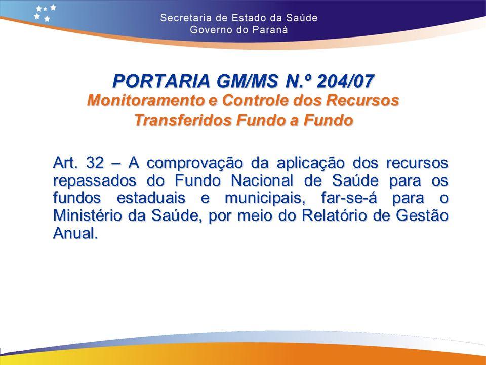 PORTARIA GM/MS N.º 204/07 Monitoramento e Controle dos Recursos Transferidos Fundo a Fundo Art.