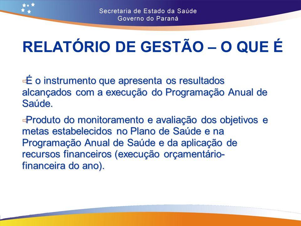 RELATÓRIO DE GESTÃO – O QUE É É o instrumento que apresenta os resultados alcançados com a execução do Programação Anual de Saúde.