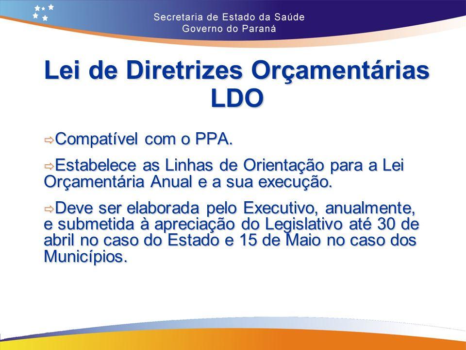 Lei de Diretrizes Orçamentárias LDO Compatível com o PPA.