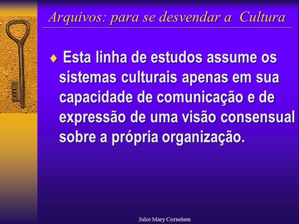 Julce Mary Cornelsen Arquivos: para se desvendar a Cultura Esta linha de estudos assume os sistemas culturais apenas em sua capacidade de comunicação