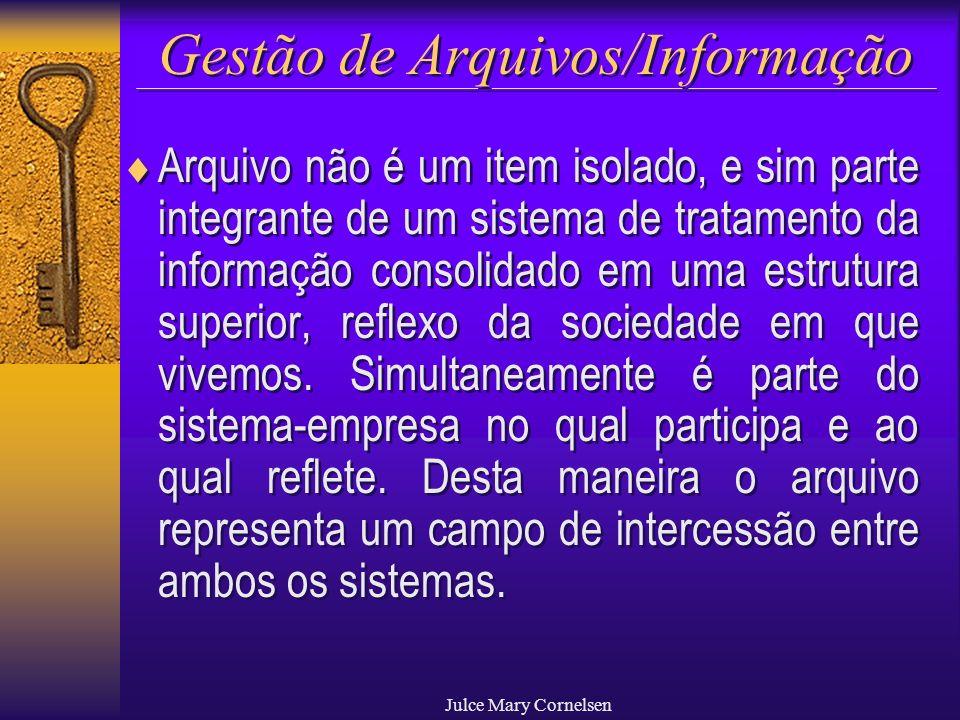 Julce Mary Cornelsen Gestão de Arquivos/Informação Arquivo não é um item isolado, e sim parte integrante de um sistema de tratamento da informação con