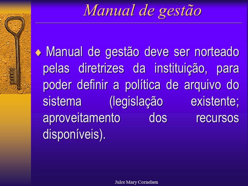 Julce Mary Cornelsen Manual de gestão Manual de gestão deve ser norteado pelas diretrizes da instituição, para poder definir a política de arquivo do