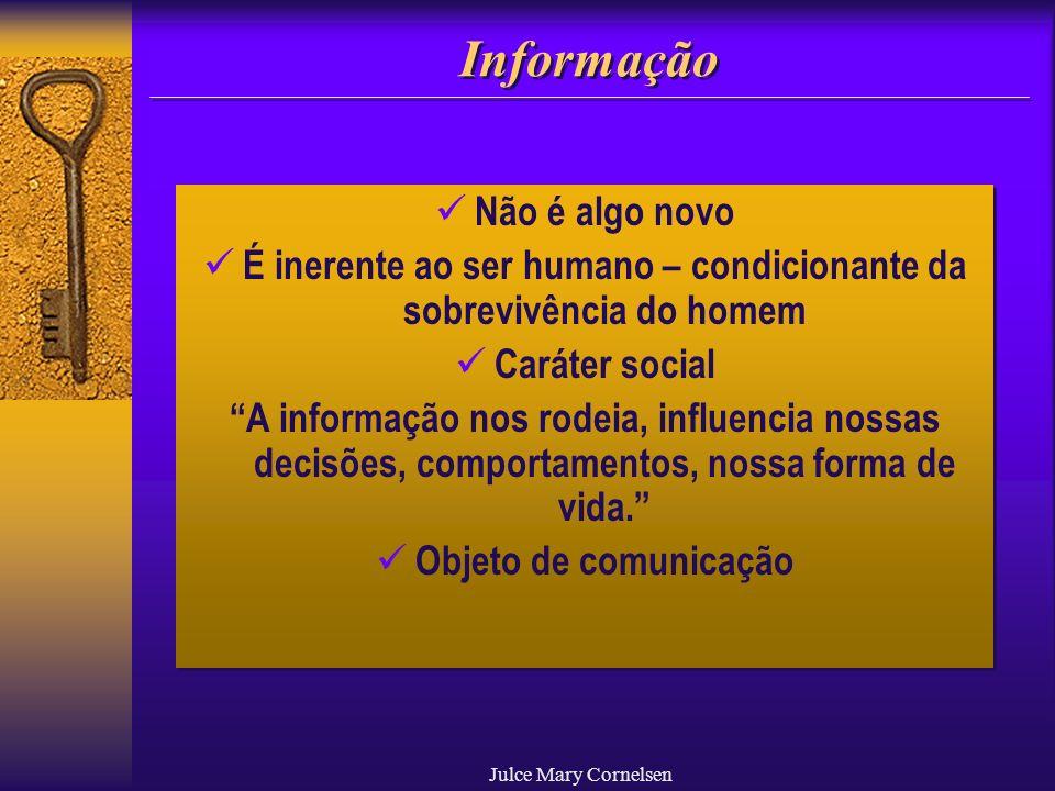 Julce Mary Cornelsen Informação Não é algo novo É inerente ao ser humano – condicionante da sobrevivência do homem Caráter social A informação nos rod