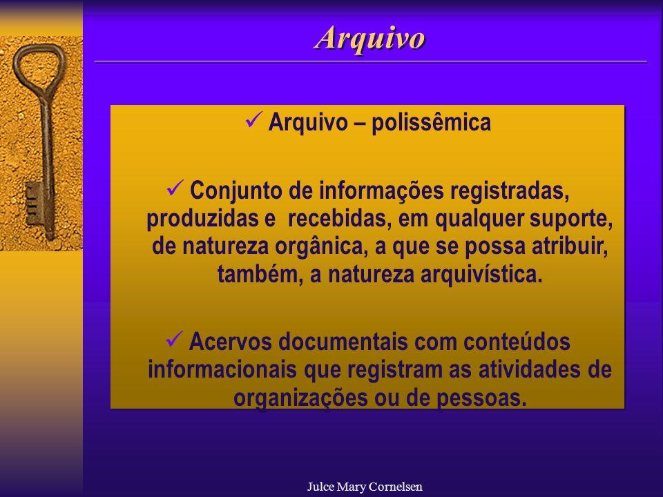Julce Mary Cornelsen Arquivo Arquivo – polissêmica Conjunto de informações registradas, produzidas e recebidas, em qualquer suporte, de natureza orgân