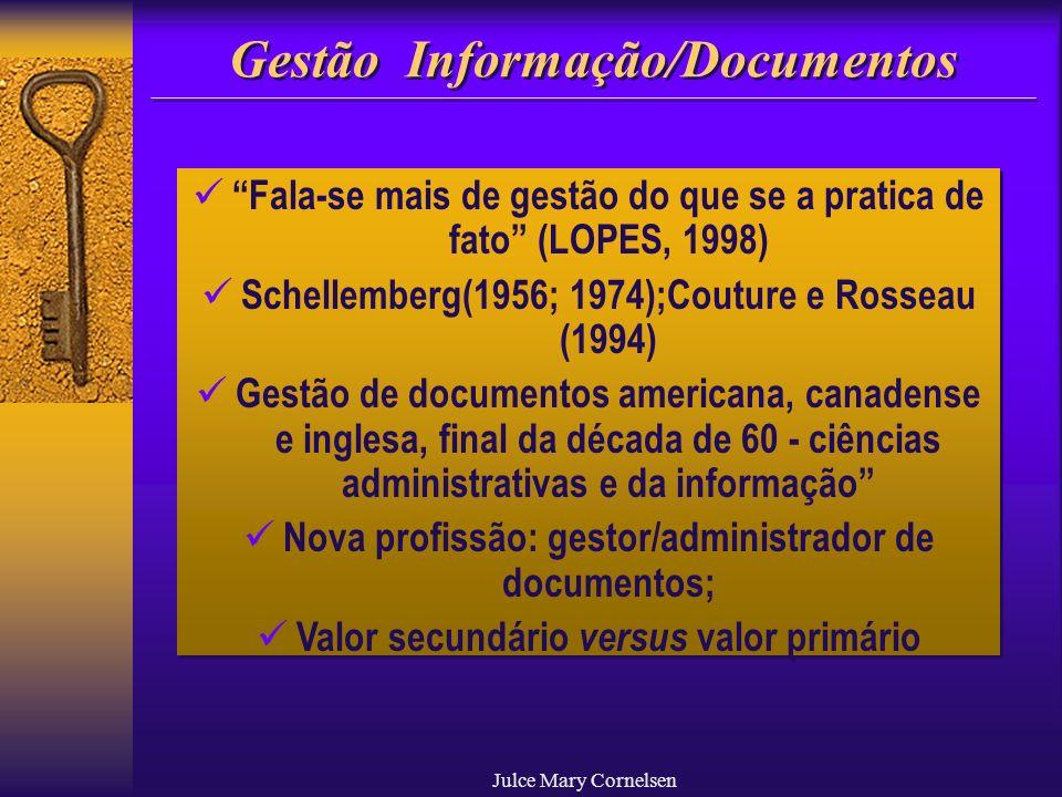 Julce Mary Cornelsen Gestão Informação/Documentos Fala-se mais de gestão do que se a pratica de fato (LOPES, 1998) Schellemberg(1956; 1974);Couture e