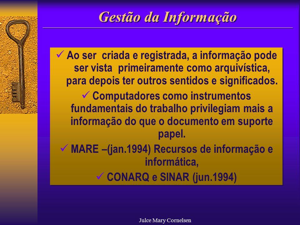 Julce Mary Cornelsen Gestão da Informação Ao ser criada e registrada, a informação pode ser vista primeiramente como arquivística, para depois ter out