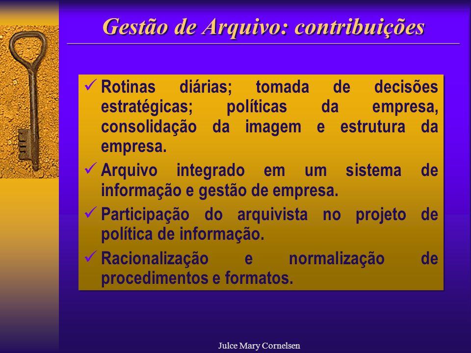 Julce Mary Cornelsen Gestão de Arquivo: contribuições Rotinas diárias; tomada de decisões estratégicas; políticas da empresa, consolidação da imagem e