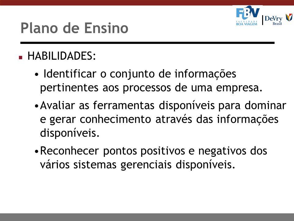Plano de Ensino n HABILIDADES: Identificar o conjunto de informações pertinentes aos processos de uma empresa.