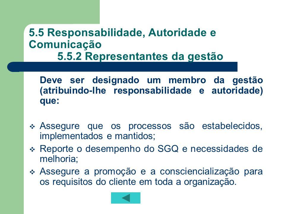 5.5 Responsabilidade, Autoridade e Comunicação 5.5.2 Representantes da gestão Deve ser designado um membro da gestão (atribuindo-lhe responsabilidade