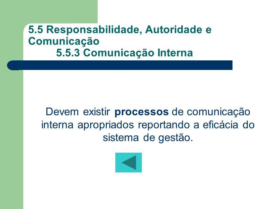 5.5 Responsabilidade, Autoridade e Comunicação 5.5.3 Comunicação Interna Devem existir processos de comunicação interna apropriados reportando a eficá