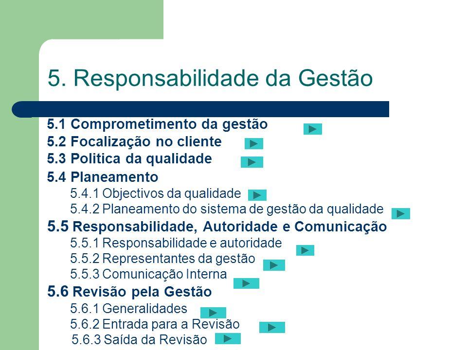 5.2 Focalização no cliente 5. Responsabilidade da Gestão 5.1 Comprometimento da gestão 5.2 Focalização no cliente 5.3 Politica da qualidade 5.4 Planea