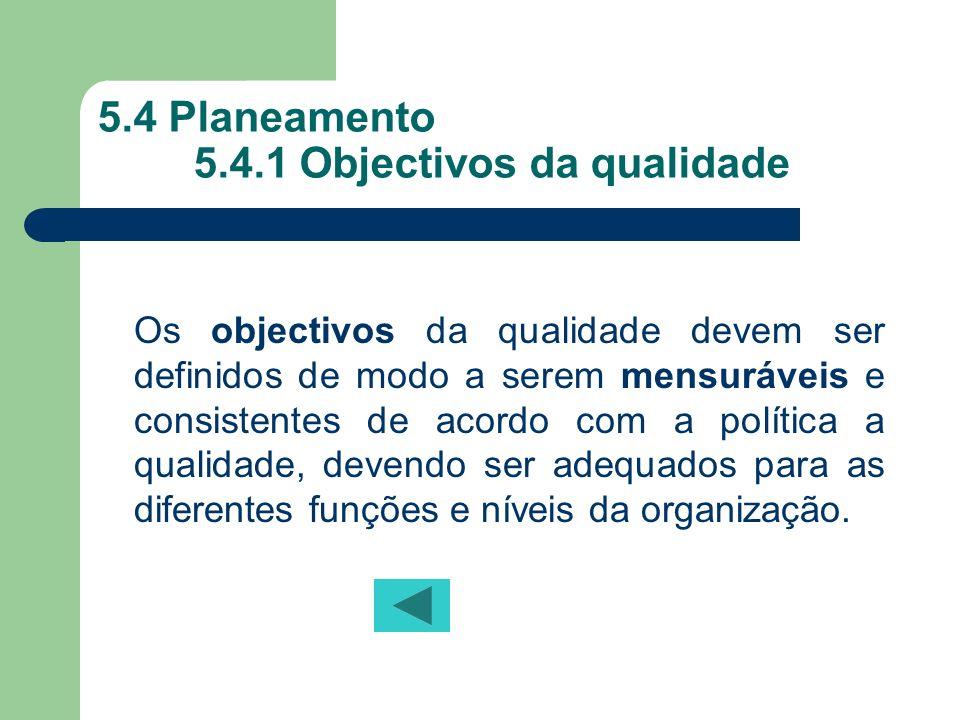 5.4 Planeamento 5.4.1 Objectivos da qualidade Os objectivos da qualidade devem ser definidos de modo a serem mensuráveis e consistentes de acordo com