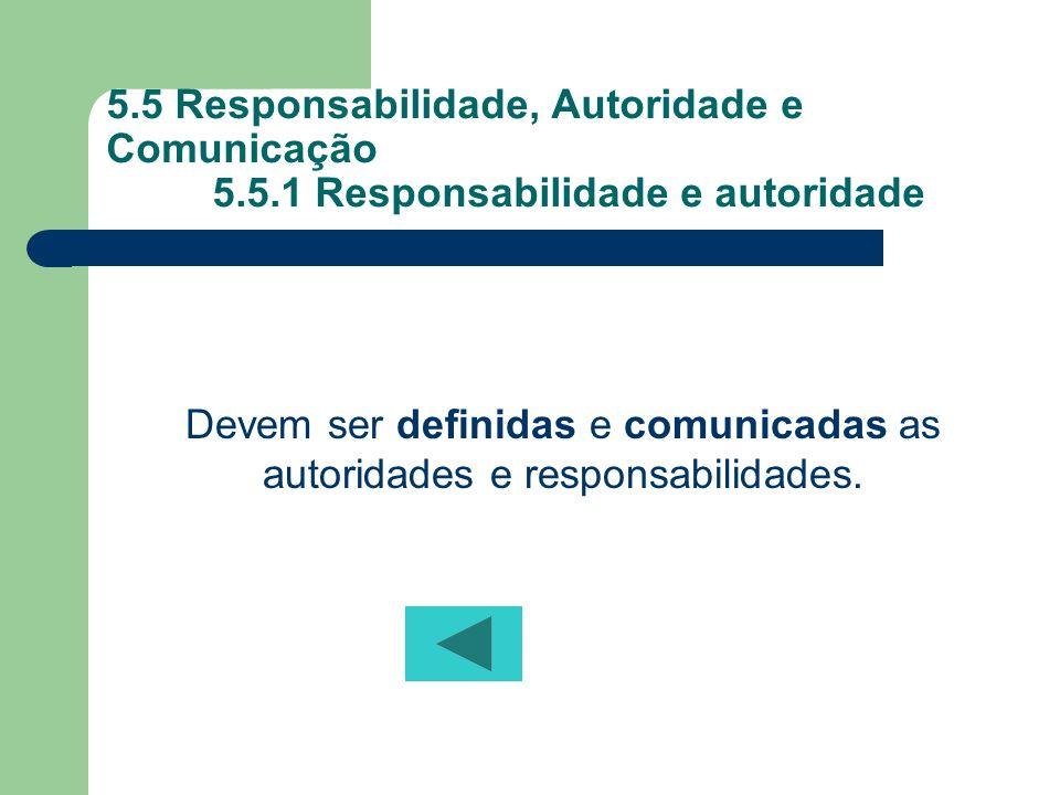 5.5 Responsabilidade, Autoridade e Comunicação 5.5.1 Responsabilidade e autoridade Devem ser definidas e comunicadas as autoridades e responsabilidade