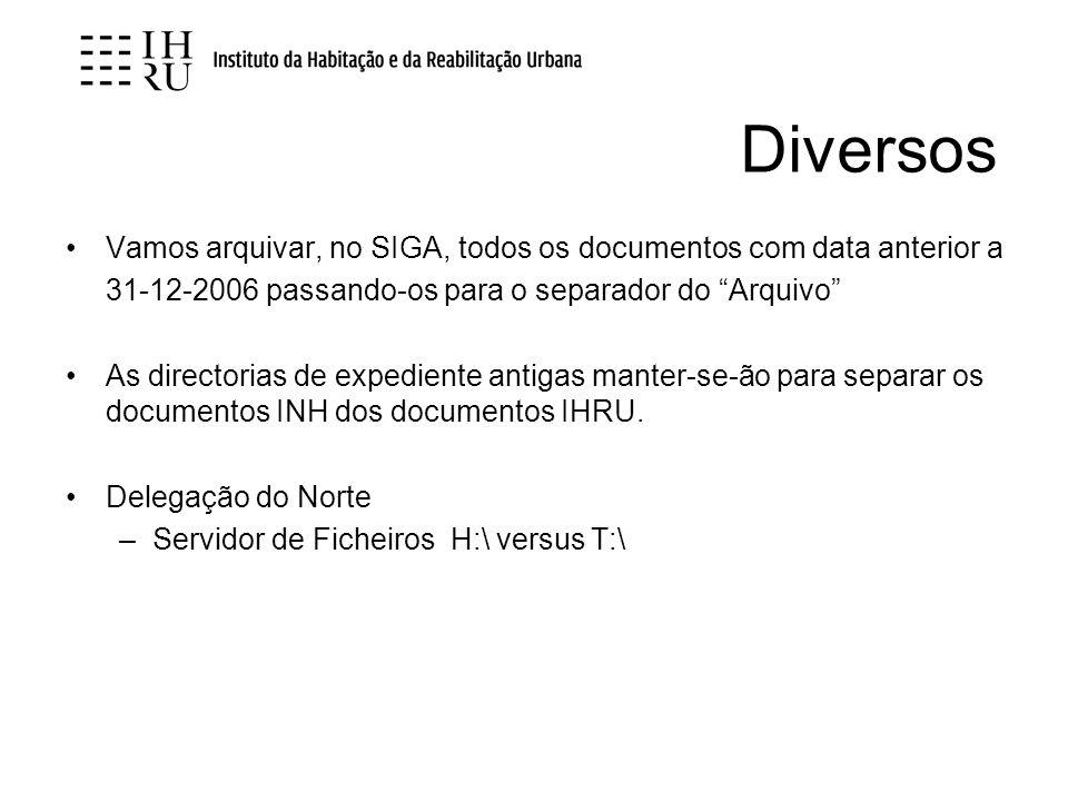 Diversos Vamos arquivar, no SIGA, todos os documentos com data anterior a 31-12-2006 passando-os para o separador do Arquivo As directorias de expedie