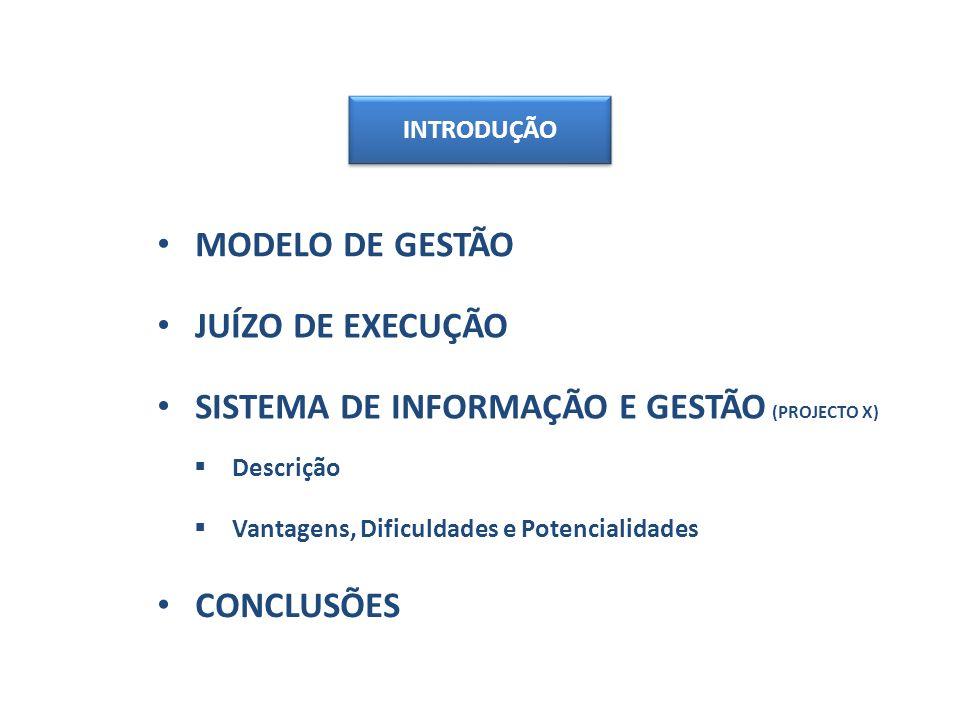 MODELO DE GESTÃO SISTEMA DE INFORMAÇÃO E GESTÃO (PROJECTO X) Descrição Vantagens, Dificuldades e Potencialidades INTRODUÇÃO JUÍZO DE EXECUÇÃO CONCLUSÕES