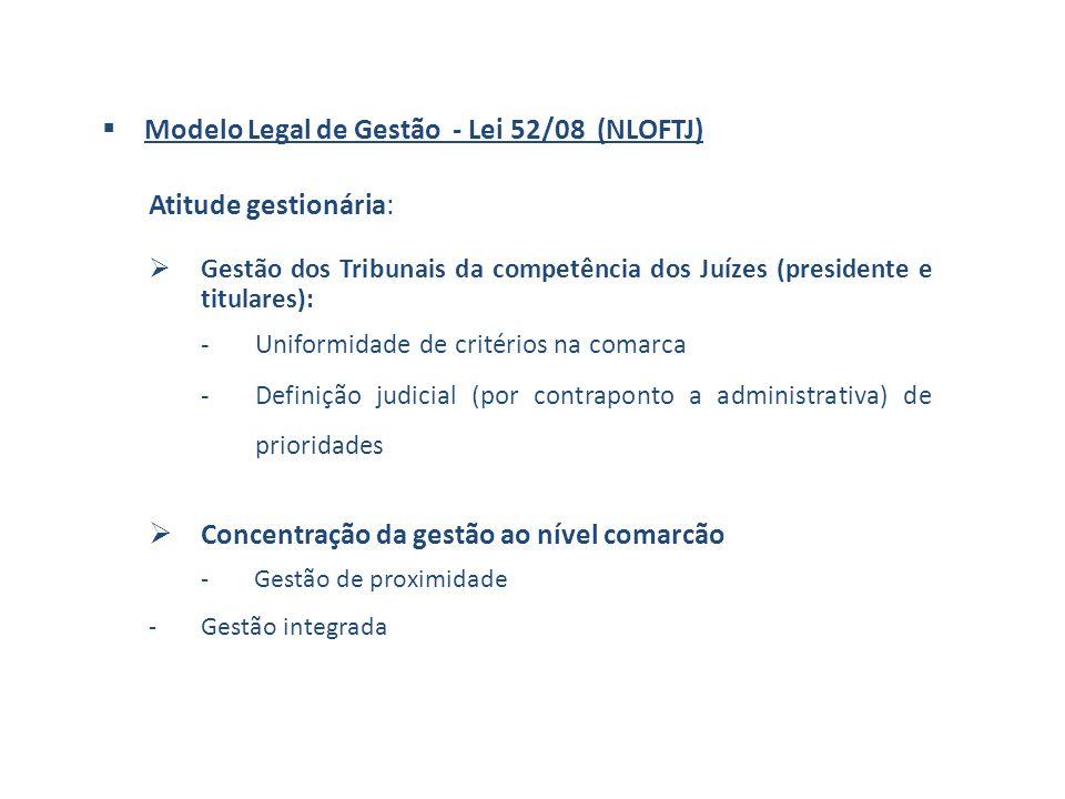 Modelo Legal de Gestão - Lei 52/08 (NLOFTJ) Atitude gestionária: Gestão dos Tribunais da competência dos Juízes (presidente e titulares): -Uniformidade de critérios na comarca -Definição judicial (por contraponto a administrativa) de prioridades Concentração da gestão ao nível comarcão -Gestão de proximidade -Gestão integrada