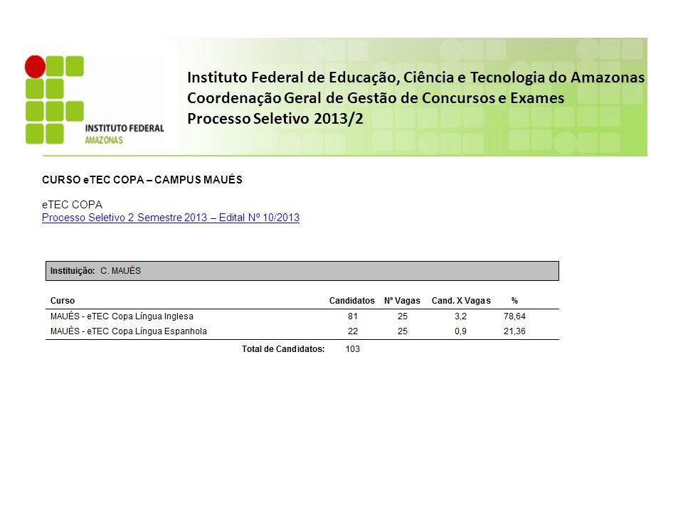 Instituto Federal de Educação, Ciência e Tecnologia do Amazonas Coordenação Geral de Gestão de Concursos e Exames Processo Seletivo 2013/2 CURSO eTEC COPA – CAMPUS MAUÉS eTEC COPA Processo Seletivo 2 Semestre 2013 – Edital Nº 10/2013