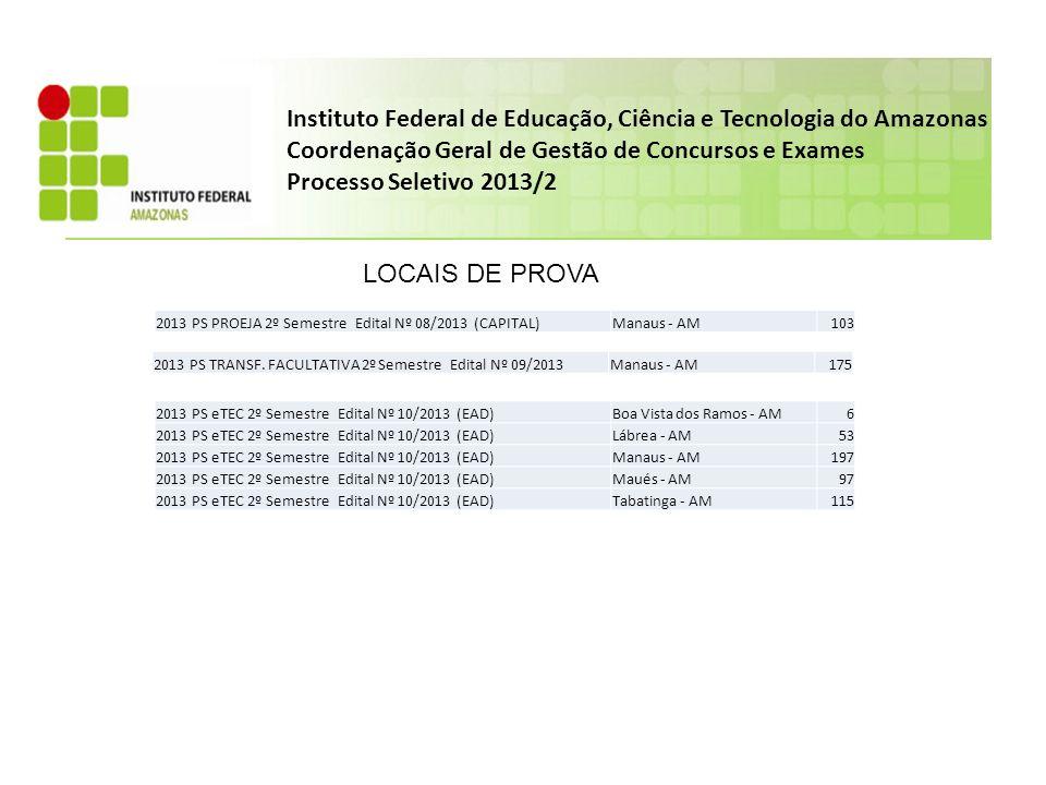 Instituto Federal de Educação, Ciência e Tecnologia do Amazonas Coordenação Geral de Gestão de Concursos e Exames Processo Seletivo 2013/2 CURSO TÉCNICO SUBSEQUENTE EAD – CAMPUS PRESIDENTE FIGUEIREDO Educação a distância Processo Seletivo 2 Semestre 2013 – Edital Nº 11/2013