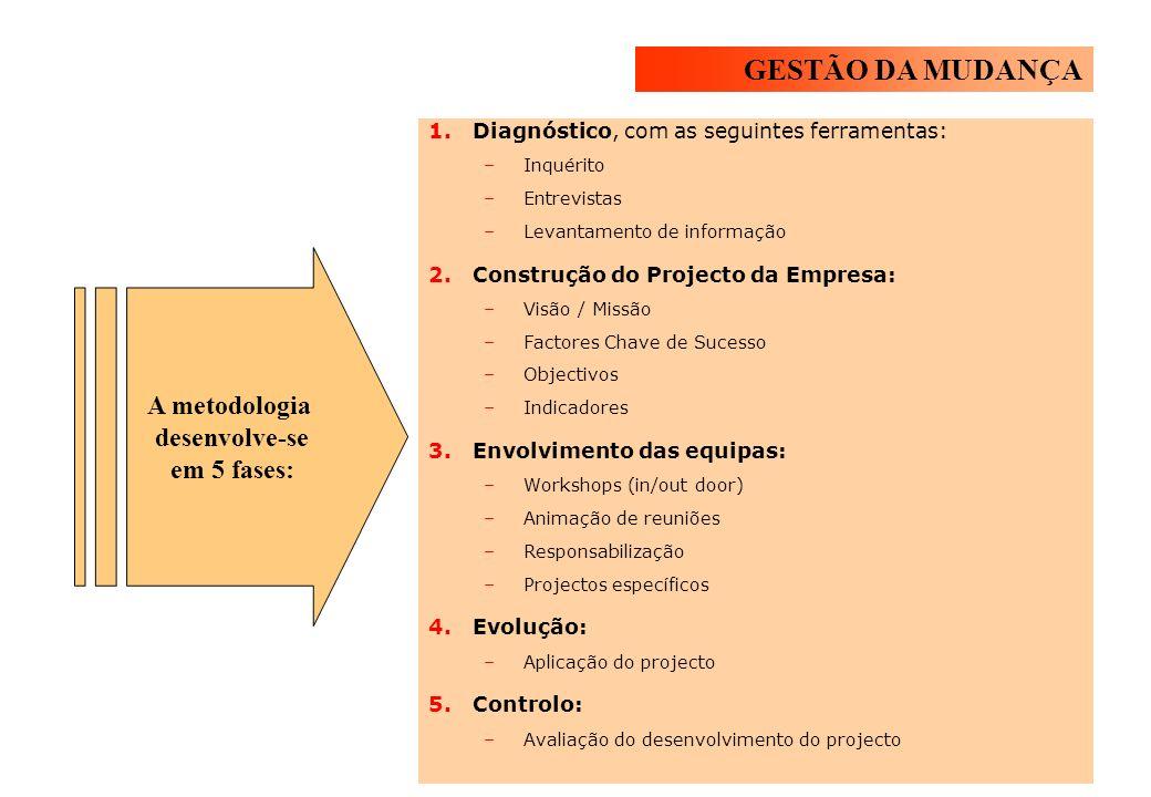 1.Diagnóstico, com as seguintes ferramentas: –Inquérito –Entrevistas –Levantamento de informação 2.Construção do Projecto da Empresa: –Visão / Missão –Factores Chave de Sucesso –Objectivos –Indicadores 3.Envolvimento das equipas: –Workshops (in/out door) –Animação de reuniões –Responsabilização –Projectos específicos 4.Evolução: –Aplicação do projecto 5.Controlo: –Avaliação do desenvolvimento do projecto A metodologia desenvolve-se em 5 fases: GESTÃO DA MUDANÇA